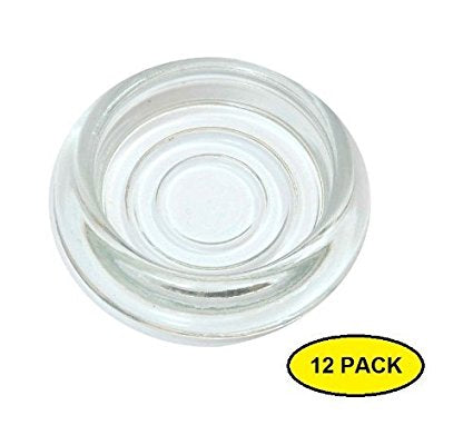 3 Inch Dia. 12-Pack Clear Glass Furniture Coasters / Caster Cups by A29