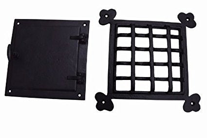 A29 Speakeasy Door Grill with Viewing Door, Black Powder Coat Finish, Large Size