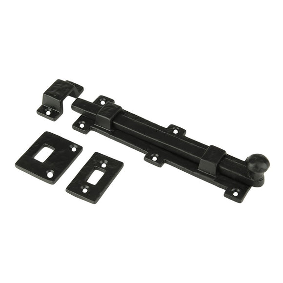 Iron Surface Door Slide Bolt 8 x 2 Inches with 3 Gate Latch Black Powder Coat Finish