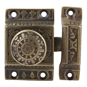 Solid Brass Cabinet Latch Handmade Antique Brass Finish Latch for Cabinet Closet Kitchen Door Sold as Each Windsor Design
