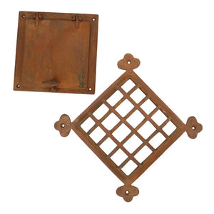 Speakeasy Door Grill with Viewing Door, Rust Large Size