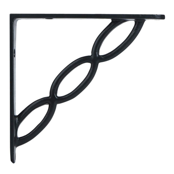 A29 Set of 2 Iron Shelf Brackets with Black Powder Coat Finish, 6 x 6 Inch, Heavy Duty Adjustable Support Brackets Easy Installation Hardware