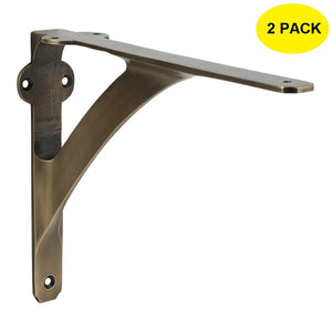 Set of 2 Classic 5 7/8 Inches Brass Shelf Brackets with Antique Brass Finish Heavy Duty Adjustable Support Brackets Easy Installation Hardware
