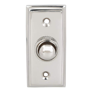 Wired Brass Doorbell Chime Push Button in Polished Nickel Finish, 2 1/2 x 1 1/8 inch, Vintage Decorative Door Bell with Easy Installation