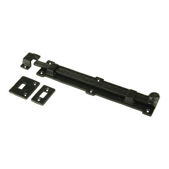 Iron Surface Door Slide Bolt 12 x 2 Inches with 3 Gate Latch Black Powder Coat Finish