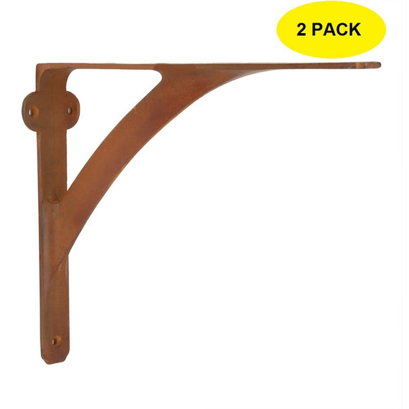 Set of 2 Classic 5 7/8 Inches Iron Shelf Brackets with Rust Finish Heavy Duty Adjustable Support Brackets Easy Installation Hardware