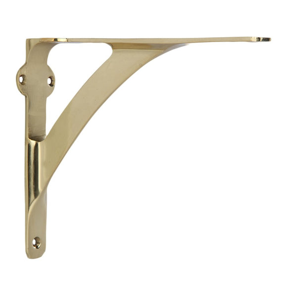 Set of 2 Classic 7 3/8 Inches Brass Shelf Brackets with Polished Brass Finish Heavy Duty Adjustable Support Brackets Easy Installation Hardware