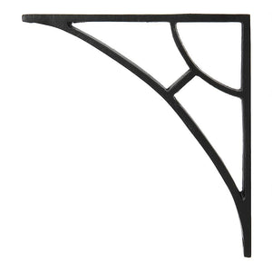 Set of 4, Classic 6 1/2 inch Iron Shelf Brackets with Black Powder Coat Finish Heavy Duty Adjustable Support Brackets Easy Installation Hardware