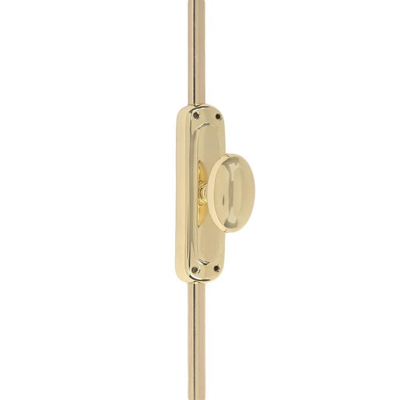 A29 6 Feet Solid Brass Oval Window Cremone Bolt, Polished Lacquered Finish