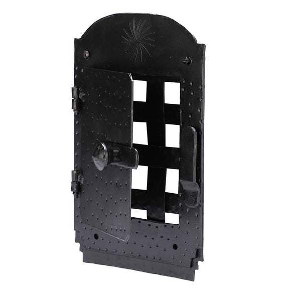 A29 Hand Forged Speakeasy Door Grill with Viewing Door, Black Powder Coat Finish (BPC)