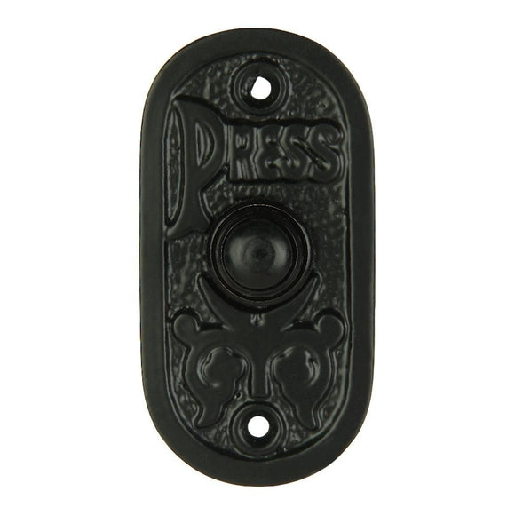 A29 Iron Bell Push Button, Black Powder Coat Finish