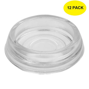 Set of 12, Clear Glass 2 9/16 Inch Dia. Furniture Coasters/Caster Cups Heavy Duty & Safe for All Floors