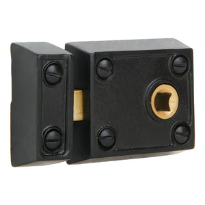 A29 Small 2 3/8 Inch Iron Rim Lock, Black Powder Coat Finish