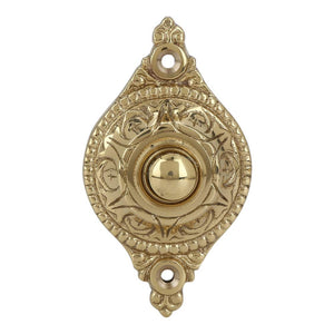 Wired Iron Doorbell Chime Push Button Vintage in POLISHED LACQUERED Finish Vintage Decorative Door Bell with Easy Installation