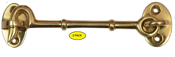 Set of 2 Solid Brass Cabin Door Hook Eye Latch Cabin Door Gate Latches Window Sash Catch Hook Lock Polished Lacquered Finish