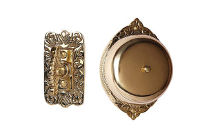 A29 Victorian Twist Hand Turn Doorbell, Handmade, Polished/Lacquered Brass