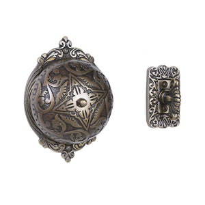 A29 Twist Hand-Turn Solid Brass Wireless Mechanical Doorbell Chime in Antique Brass Finish Vintage Decorative Victorian Door Bell with Easy Installation