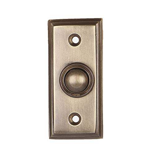 Wired Brass Doorbell Chime Push Button in Oil Rubbed Bronze Finish, 2 1/2 x 1 1/8 inch, Vintage Decorative Door Bell with Easy Installation