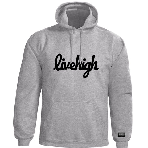 LIVEHIGH.SCRIPT HOODIE (HEATHER GREY) - LIVEHIGH