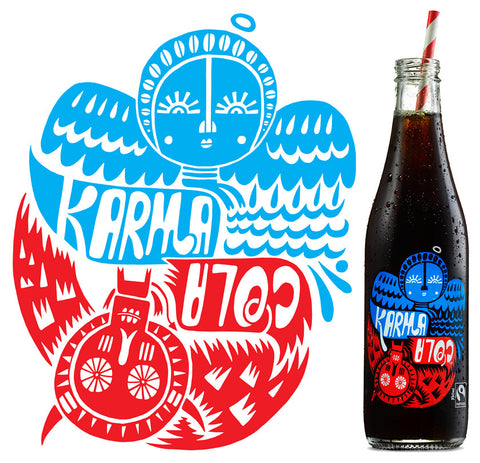 Karma Cola is a cola made with Fairtrade and organic ingredients including real cola nut from the rain forests of West Africa. Drink only ethical organic cola from Organic Soda Pops
