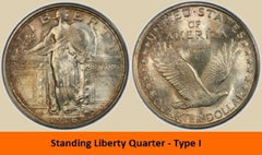 Standing Liberty Quarter - type 1