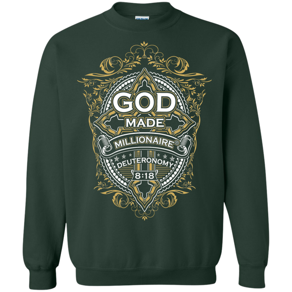Mens Sweatshirt Gildan Crewneck Pullover 8 Oz | God Made Millionaire ® Gold Cross