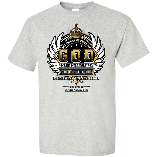 Christian T-Shirt Ultra Cotton Gildan Unisex  | God Made Millionaire ®Crown Series (Multiple Colors) Black Outline Design On Front Only