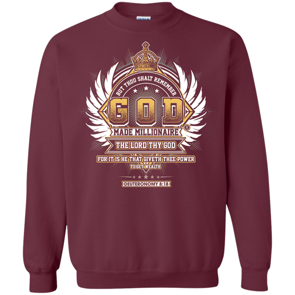 Mens Sweatshirt Gildan Crewneck Pullover 8 Oz | God Made Millionaire ® Transparent Cross