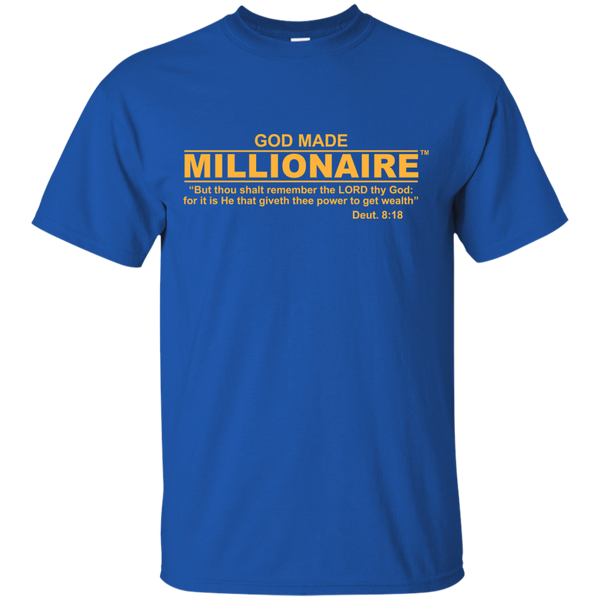 Christian T-Shirt Ultra Cotton Gildan Unisex | God Made Millionaire ® Gold Text Series (Multiple Colors) Design On Front Only