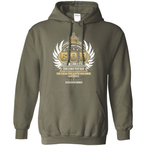 Mens Hoodie | God Made Millionaire ® | 8 oz Gildan Pullover Hoodie Crown Series (Multiple Colors)Transparent Gold Logo