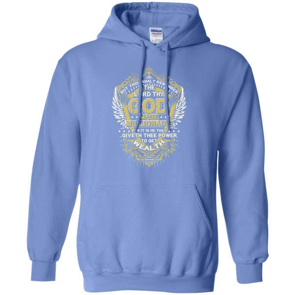 Mens Hoodie | God Made Millionaire ® | 8 oz Gildan Pullover Hoodie (Multiple Colors) | Gold Logo
