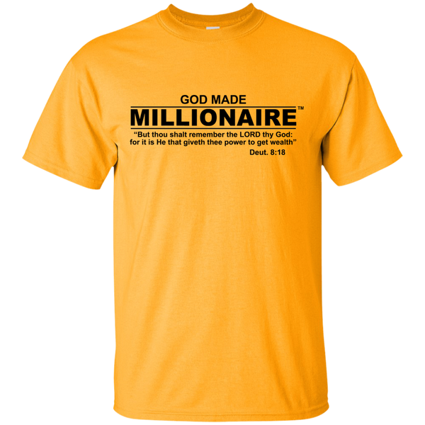 Christian T-Shirt Ultra Cotton Gildan Unisex | God Made Millionaire ® Black Text Series (Multiple Colors) Design On Front Only