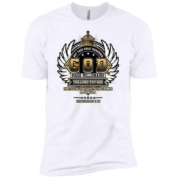Mens Next Level Premium EXTREME Softness | God Made Millionaire® Crown Series Black Outline Design On Front Only