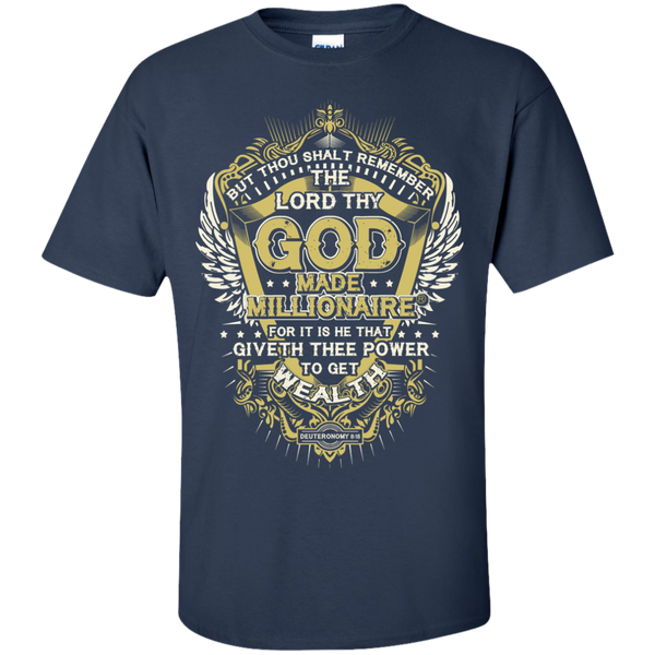 Christian T-Shirt Ultra Cotton Gildan Unisex | God Made Millionaire® (Multiple Colors) GOLD Design On Front Only