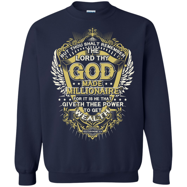 Mens Sweatshirt Gildan Crewneck Pullover 8 Oz | God Made Millionaire ® Gold Logo