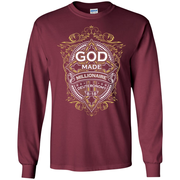 Mens Long Sleeve Gildan Ultra Cotton | God Made Millionaire ®(Multiple Colors) | Gold Cross Logo
