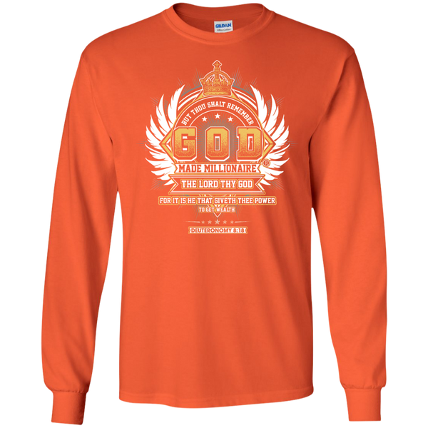 Mens Long Sleeve Gildan Ultra Cotton | God Made Millionaire ®(Multiple Colors) Transparent Crown