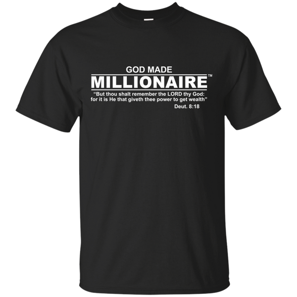 Christian T-Shirt Ultra Cotton Gildan Unisex | God Made Millionaire ® White Text Series (Multiple Colors) Design On Front Only