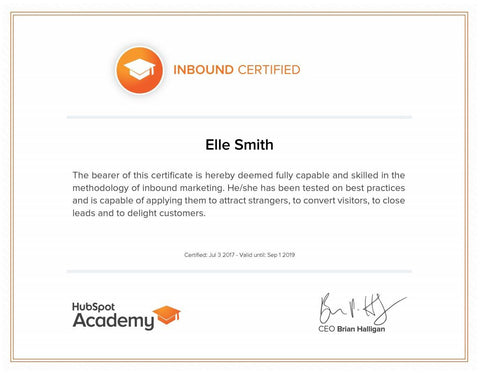Hubspot Academy Certificate of Inbound Marketing achieved by Elle Smith Inspired By Elle