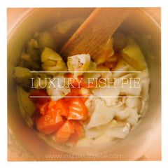 Recipe Luxury Fish Pie with salmon monkfish sea bream scallops prawns white wine by Elle Smith