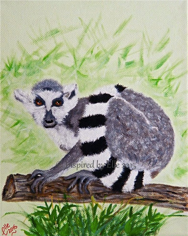 Animal Oil Painting of Ring-Tailed Lemur of Madagascar by Elle Smith