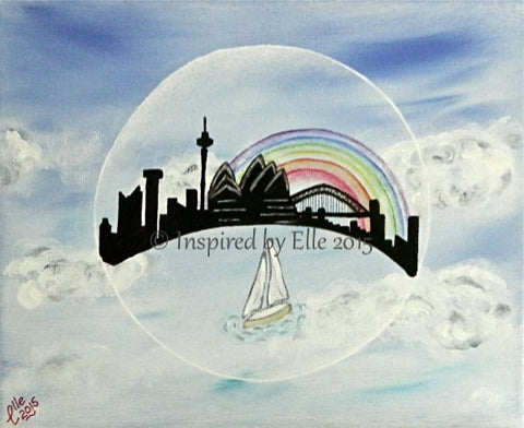 contemporary art painting bubble sailing into Sydney Australia Elle Smith artist