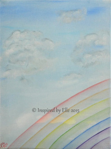 Somewhere Over The Rainbow Oil Painting by Elle Smith UK