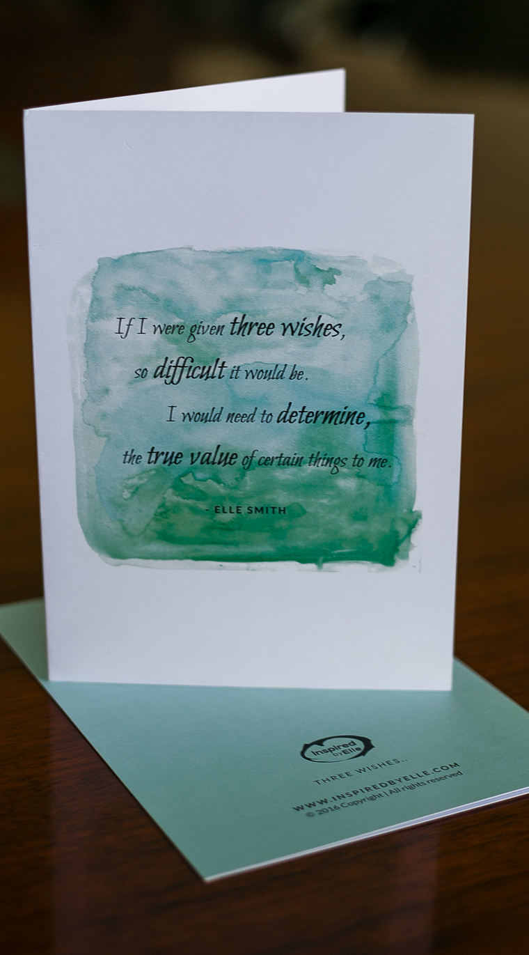 Three Wishes Card Luxury Greeting Card Poem by Elle Smith Inspired By Elle Birthdays Get Well Soon or Anniversary card