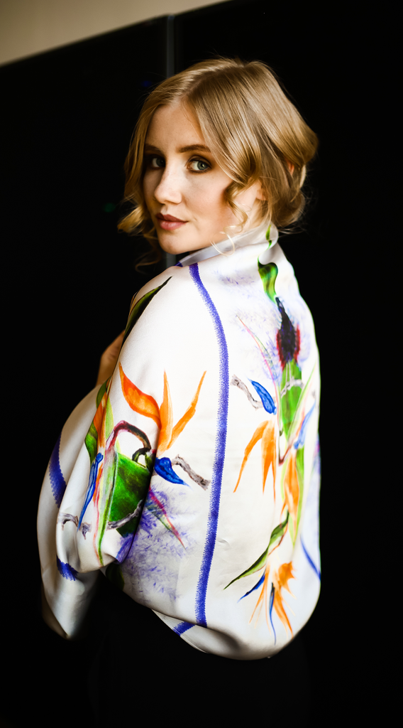 Luxury Silk Bolero Scarf Bird of Paradise Design Scarf with Flowers Elle Smith Inspired By Elle