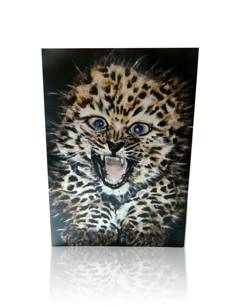 Luxury Greeting Card featuring Amur Leopard Animal Art by Elle Smith