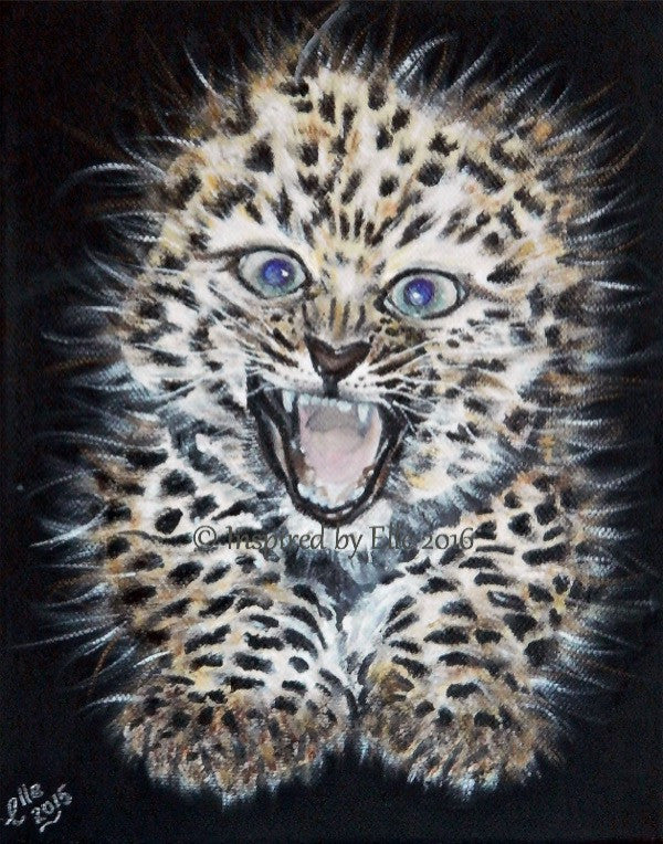 Animal Art Painting Oil Paints Amur Leopard endangered species art by Elle Smith of Inspired By Elle