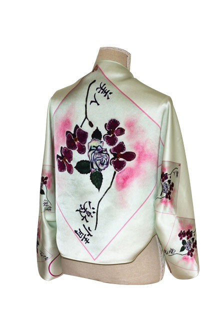 Beauty Meets Passion Silk Bolero Scarf Flowers Ladies Silk scarf Luxury Scarf Oriental Pink Floral Scarf Inspired By Elle Smith