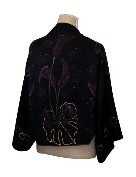Black Stars Silk Bolero Scarf Inspired By Elle Black Purple Gold Flowers Luxury Silk Scarf Elle Smith