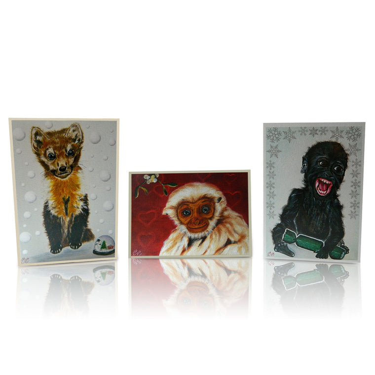 Set of Christmas Cards featuring Endangered Animal Art inspired by Elle Smith Newfoundland Pine Marten Western Lowland Gorilla Pileated Gibbon